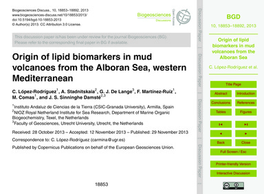 Origin of Lipid Biomarkers in Mud Volcan... by López-rodríguez, C.