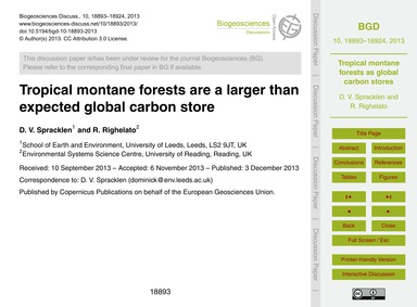 Tropical Montane Forests Are a Larger Th... by Spracklen, D. V.