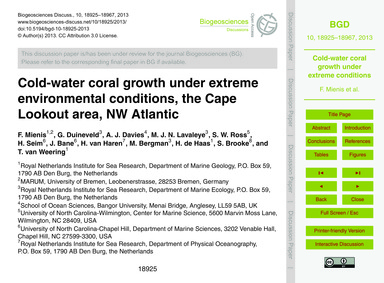 Cold-water Coral Growth Under Extreme En... by Mienis, F.