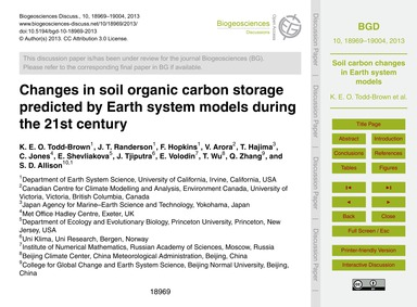 Changes in Soil Organic Carbon Storage P... by Todd-brown, K. E. O.