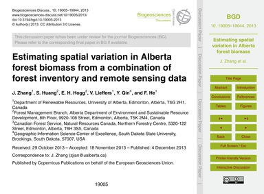 Estimating Spatial Variation in Alberta ... by Zhang, J.