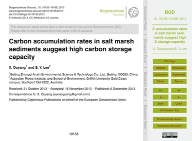 Carbon Accumulation Rates in Salt Marsh ... by Ouyang, X.
