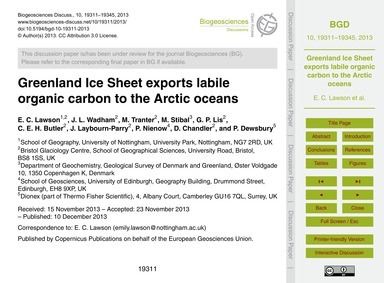 Greenland Ice Sheet Exports Labile Organ... by Lawson, E. C.