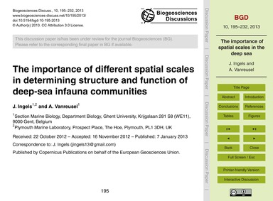 The Importance of Different Spatial Scal... by Ingels, J.