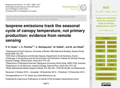 Isoprene Emissions Track the Seasonal Cy... by Foster, P. N.