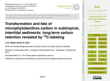 Transformation and Fate of Microphytoben... by Oakes, J. M.