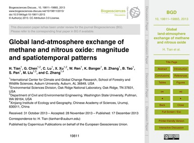 Global Land-atmosphere Exchange of Metha... by Tian, H.