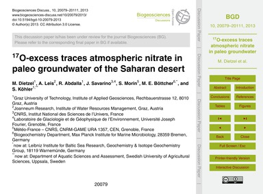 17O-excess Traces Atmospheric Nitrate in... by Dietzel, M.