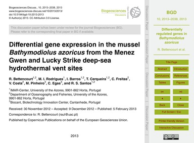 Differential Gene Expression in the Muss... by Bettencourt, R.