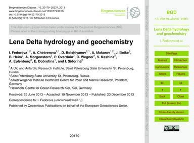 Lena Delta Hydrology and Geochemistry : ... by Fedorova, I.
