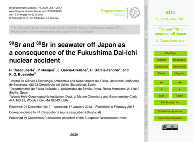 90Sr and 89Sr in Seawater Off Japan as a... by Casacuberta, N.