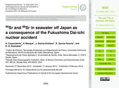 90Sr and 89Sr in Seawater Off Japan as a... by Casacuberta, N.