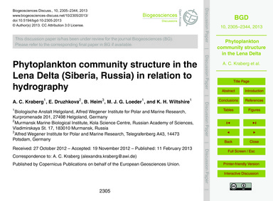 Phytoplankton Community Structure in the... by Kraberg, A. C.