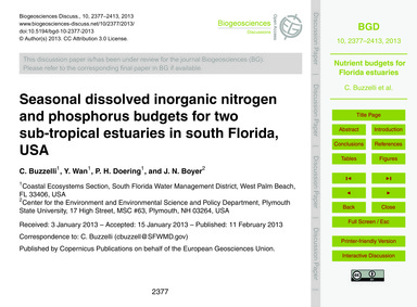 Seasonal Dissolved Inorganic Nitrogen an... by Buzzelli, C.