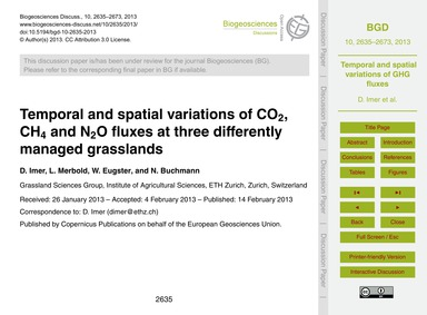Temporal and Spatial Variations of Co2, ... by Imer, D.