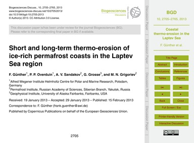 Short and Long-term Thermo-erosion of Ic... by Günther, F.
