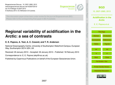 Regional Variability of Acidification in... by Popova, E. E.