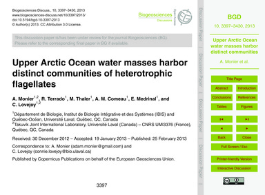 Upper Arctic Ocean Water Masses Harbor D... by Monier, A.