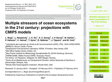 Multiple Stressors of Ocean Ecosystems i... by Bopp, L.