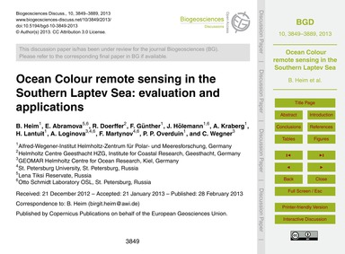 Ocean Colour Remote Sensing in the South... by Heim, B.