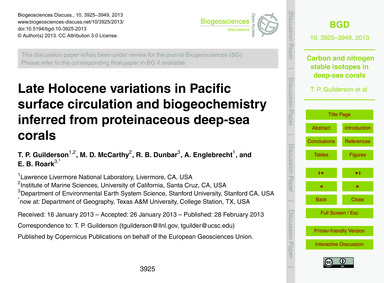 Late Holocene Variations in Pacific Surf... by Guilderson, T. P.