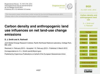 Carbon Density and Anthropogenic Land Us... by Smith, S. J.