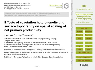 Effects of Vegetation Heterogeneity and ... by Chen, J. M.