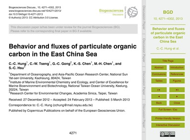 Behavior and Fluxes of Particulate Organ... by Hung, C.-c.