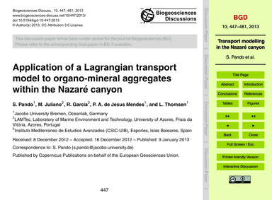 Application of a Lagrangian Transport Mo... by Pando, S.