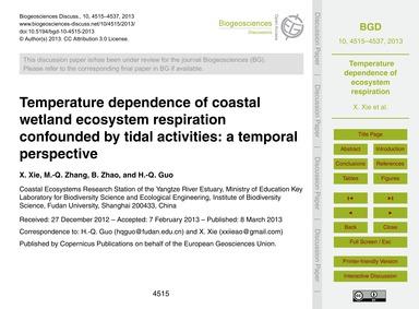 Temperature Dependence of Coastal Wetlan... by Xie, X.