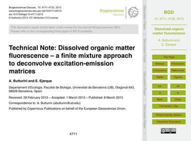 Technical Note: Dissolved Organic Matter... by Butturini, A.