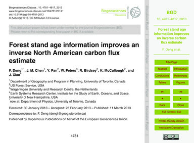 Forest Stand Age Information Improves an... by Deng, F.