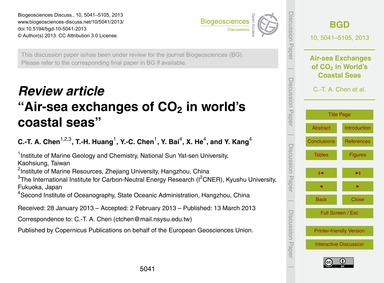 Review Article Air-sea Exchanges of Co2 ... by Chen, C.-t. A.