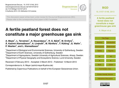 A Fertile Peatland Forest Does Not Const... by Meyer, A.
