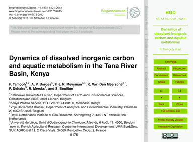 Dynamics of Dissolved Inorganic Carbon a... by Tamooh, F.