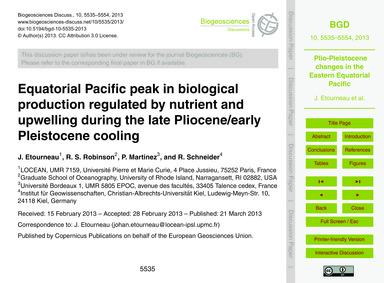 Equatorial Pacific Peak in Biological Pr... by Etourneau, J.