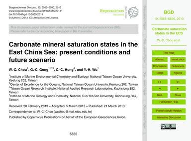 Carbonate Mineral Saturation States in t... by Chou, W.-c.
