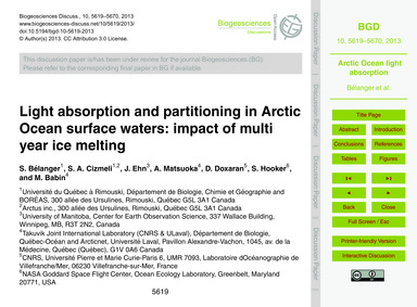 Light Absorption and Partitioning in Arc... by Bélanger, S.