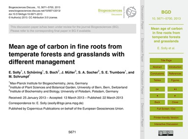 Mean Age of Carbon in Fine Roots from Te... by Solly, E.
