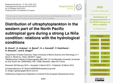 Distribution of Ultraphytoplankton in th... by Girault, M.