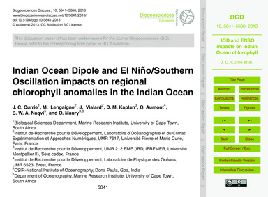 Indian Ocean Dipole and El Niño/Southern... by Currie, J. C.