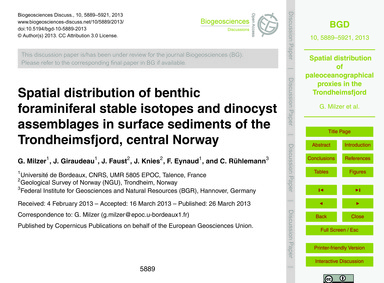 Spatial Distribution of Benthic Foramini... by Milzer, G.
