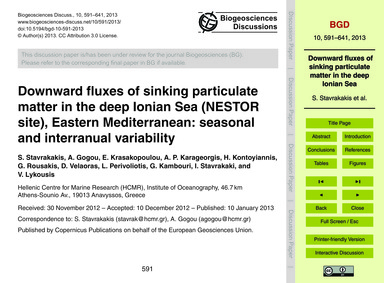 Downward Fluxes of Sinking Particulate M... by Stavrakakis, S.