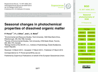 Seasonal Changes in Photochemical Proper... by Porcal, P.