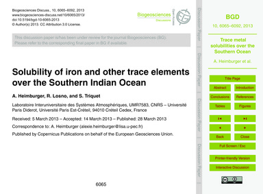 Solubility of Iron and Other Trace Eleme... by Heimburger, A.