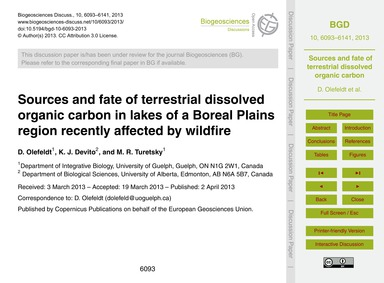 Sources and Fate of Terrestrial Dissolve... by Olefeldt, D.
