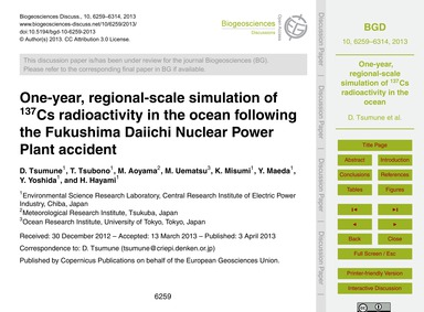 One-year, Regional-scale Simulation of 1... by Tsumune, D.