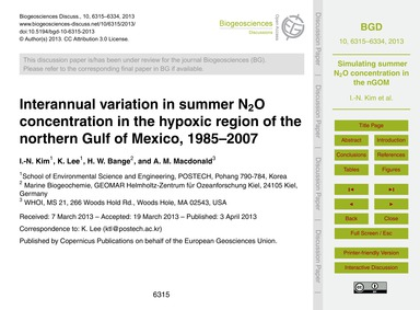 Interannual Variation in Summer N2O Conc... by Kim, I.-n.