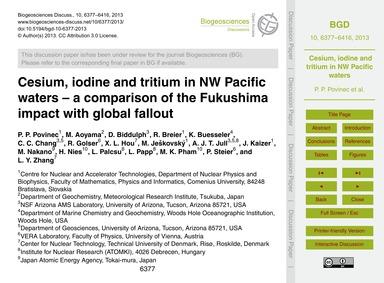 Cesium, Iodine and Tritium in NW Pacific... by Povinec, P. P.