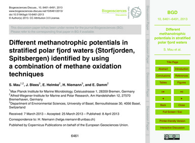 Different Methanotrophic Potentials in S... by Mau, S.